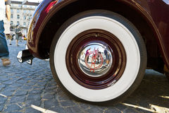 Whitewall tyre of Oldtimer Opel Admiral at the OldtimerCity 2011 in Frankfurt am Main Stock Photo