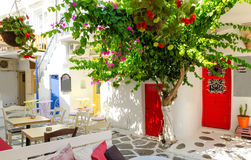 Whitewashed alley in Mykonos, Cyclades, Greece. Typical architecture on greek island mykonos Stock Images