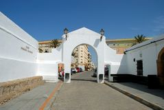 Whitewashed archway, Cadiz. Entrance arch leading from La Caleta beach along the Paseo Fernando Quinones, Cadiz, Cadiz Province, Andalusia, Spain, Western Royalty Free Stock Images