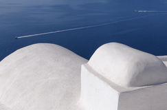 Whitewashed Cycladic house in Oia Stock Photo