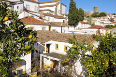 Whitewashed houses. Obidos. Portugal Royalty Free Stock Photo
