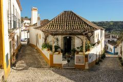 Whitewashed houses. Obidos. Portugal Stock Photos