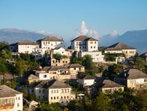 Whitewashed Stucco Buildings on a Gjirokastra Albania Hillside