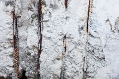 Whitewashed surface with visible rusty reinforcement bars Royalty Free Stock Photos