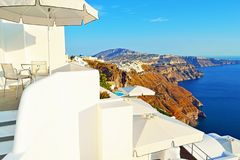 Holiday villa sea view terrace Santorini island Greece Stock Photos