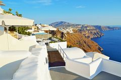 Lovely views Santorini island terraces viewpoint Greece Stock Photo