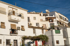 Whitewashed town facades Stock Image