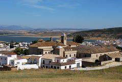 Whitewashed village, Bornos, Andalusia, Spain. View of the village with a lake to the rear, Bornos, Cadiz Province, Andalusia, Spain, Western Europe Royalty Free Stock Photo