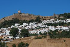 Whitewashed village, Jimena de la Frontera, Spain. Stock Photo