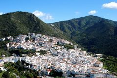 Whitewashed village, Ojen, Andalusia, Spain. View of whitewashed village and surrounding countryside, Ojen, Costa del Sol, Malaga Province, Andalusia, Spain Stock Photo