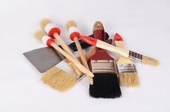 Whitewashing brush as a background Stock Image