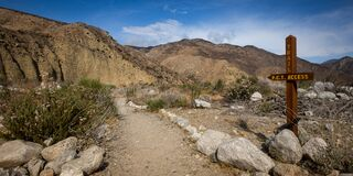 WHITEWATER, CALIFORNIA, UNITED STATES - Apr 16, 2019: Whitewater Preserve PCT intersection