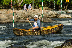 Whitewater canoe slalom race stock photos