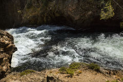 Whitewater of cataract above Upper Falls, Yellowstone River, Wyo Royalty Free Stock Photo