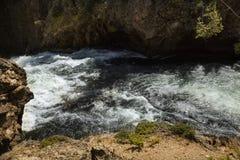 Whitewater of cataract above Upper Falls, Yellowstone River, Wyo Royalty Free Stock Photo