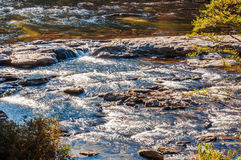 Whitewater in the Chattahoochee National Forest. The Chattooga Wild and Scenic River at Dick's Creek Falls royalty free stock image