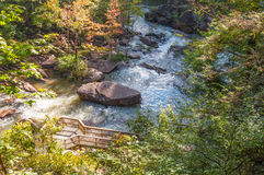 Whitewater in the Chattahoochee National Forest. Observation deck, Tallulah Gorge floor at Hurricane Falls. Aesthetic water release at 200 cfs stock images