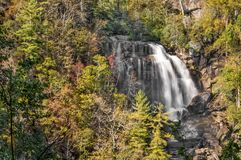 Whitewater Falls. Is a beautiful 400 foot waterfall in western North Carolina. Seen here is just the upper portion in autumn Stock Photo