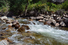 Whitewater Flows Over Rocks In The Mountains. A stream flows quickly over rocks Royalty Free Stock Photography