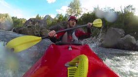 Whitewater het kayaking stock footage