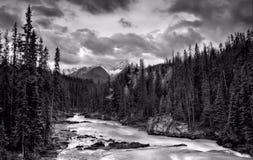 Whitewater i de steniga bergen fotografering för bildbyråer