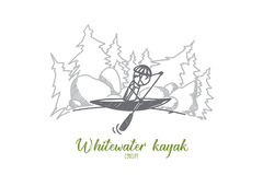 Whitewater kayak concept. Hand drawn isolated vector. Royalty Free Stock Photos