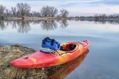 Whitewater kayak on lake Stock Photography