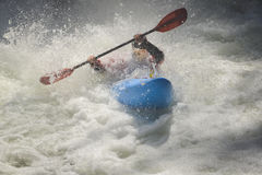 Whitewater kayak racer foam, waves Royalty Free Stock Images