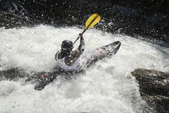 Whitewater kayak racer Royalty Free Stock Photos