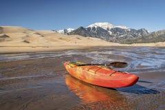 Whitewater kayak in shallow water Royalty Free Stock Photos