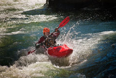 Whitewater Kayaker Stock Afbeelding