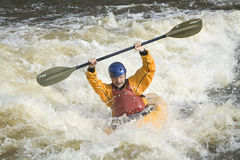 Whitewater kayaker royalty-vrije stock fotografie