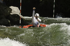 Whitewater kayaker in a race Stock Photography