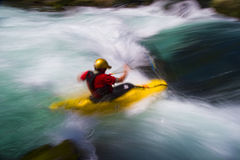 Whitewater kayaking. Man whitewater kayaking, White Salmon River, Washington, USA Stock Photography