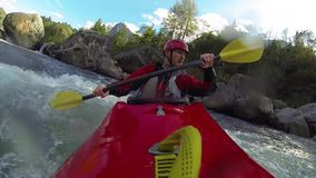 Whitewater kayaking stock footage