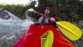 Whitewater kayaking, super slow motion stock video footage