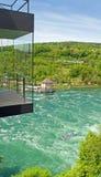 Whitewater przy Rhine spadkami, Szwajcaria Obraz Stock