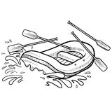 Whitewater rafting adventure sketch. Doodle style illustration of whitewater rafting in vector illustration Stock Photos