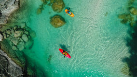 Whitewater Rafting on the Emerald waters of Soca river, Slovenia Stock Images