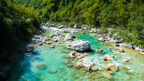Whitewater Rafting on the Emerald waters of Soca river, Slovenia Royalty Free Stock Photo