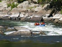 Whitewater rafting på forsarna royaltyfri foto