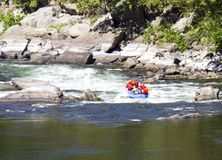 Whitewater rafting on the rapids. stock photography