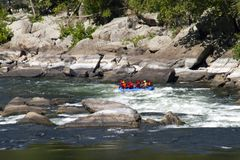 Whitewater rafting on the rapids. royalty free stock photos