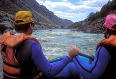 Whitewater Rafting Rio Grande River stock foto's
