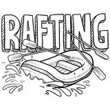 Whitewater rafting sketch. Doodle style whitewater rafting illustration in vector format. Includes text and raft Royalty Free Stock Images