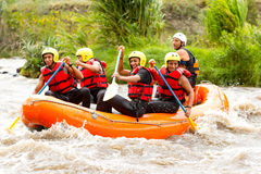 Whitewater River Rafting Boat Adventure Stock Images