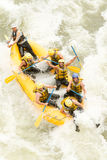 Whitewater River Rafting Boat Aerial View Royalty Free Stock Images