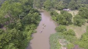 Whitewater on the river, Thailand 2017 : The fun of rafting stock video footage