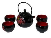 Whith ceramico della teiera un le tazze per tè nello stile cinese Immagine Stock Libera da Diritti