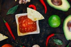Whith mexicain chaud de Salsa les puces de nacho entourées par des ingrédients - tomates, poivrons de piment, chaux photos libres de droits